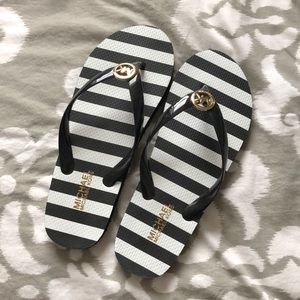 Michael Kors stripped flip flops - size 9